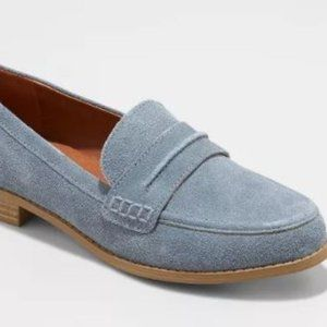 Blue Suede Closed Back Loafers - Size 9